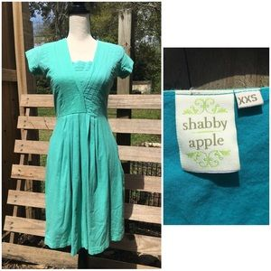 Pleated Fit & Flare Short Sleeve Blue Dress XXS